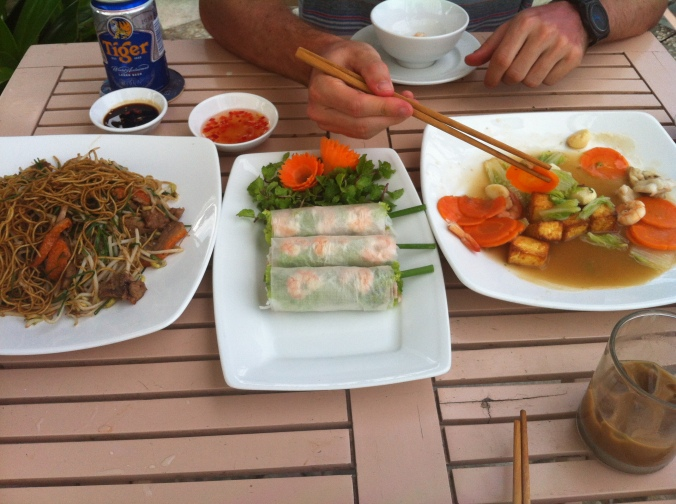 rice paper rolls... or 'fresh spring rolls' as they've better known as there. In the bottom corner is  'Vietnamese iced coffee,' made with drip coffee and condensed milk. I became far too obsessed!
