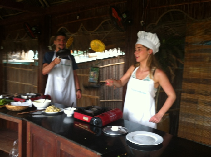 Flipping Vietnamese pancakes