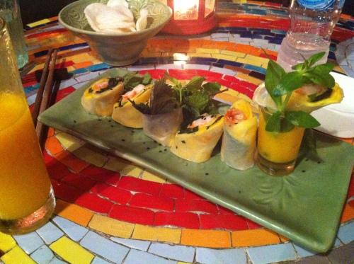 Mango rice paper rolls in Hanoi