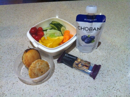 2 homemade lamb, sweet potato and rosemary pies, with a salad, plus another squeezy Chobani yoghurt, and a Carmans nut bar.